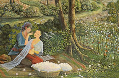 The public Thai art painting. On wall in temple Royalty Free Stock Photos