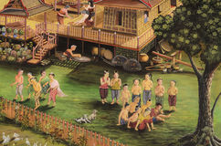The public Thai art painting. On wall in temple.Generality in Thailand ,any kind of art decorated in Buddhist church ,temple pavilion,temple hall,monk'shouse stock images