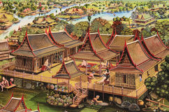 The public Thai art painting. On wall in temple.Generality in Thailand ,any kind of art decorated in Buddhist church ,temple pavilion,temple hall,monk'shouse stock illustration