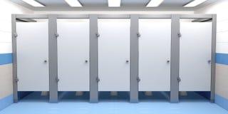 Public toilet cubicles. Front view Stock Photos