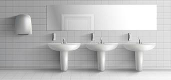 Public toilet interior realistic vector mock-up royalty free illustration