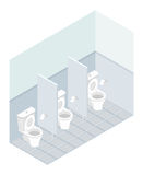 Public toilet isometrics. Interior overall restroom. Toilets and Stock Image