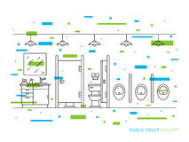 Public toilet line art concept. Toilet room vector illustration. Public toilet line art concept. Restroom with cupboard, sink, mirror, toilet bowl, urinals Royalty Free Stock Image