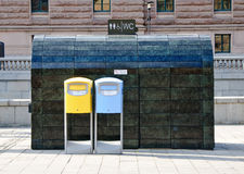 Public toilet and mailboxes Royalty Free Stock Images