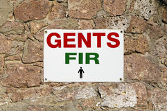 Gents, Fir, wc for men Stock Photography