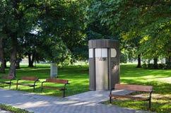 Public toilet in park Stock Photo