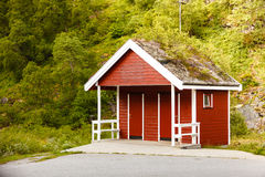 Public toilet on rest place in norwegian nature. Wooden public toilet outdoor on rest place in norwegian mountains nature, WC restroom Royalty Free Stock Photos