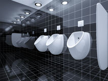 A public toilet with three urinals. 3d rendering of a public toilet with three urinals Royalty Free Stock Photography