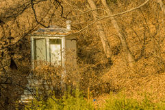 Public toilet in a wooded area Royalty Free Stock Photography