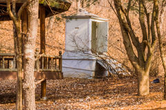 Public toilet in a wooded area Royalty Free Stock Images