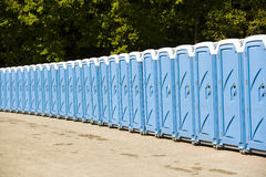 Public toilets. In a row Stock Photo