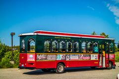 A public tourist bus in Mackinac Island, Michigan stock images