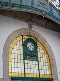 Public Train Station Building Interior Architecture: Historic Clock, Porto, Portugal.  royalty free stock photos