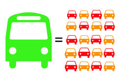 Public transport. One public bus equals twenty cars as far as number of transported people is regarded royalty free illustration