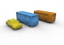 Public transport. 3D render of public transport symbols: taxi, bus, subway/train Stock Photos