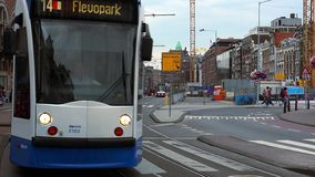 Public transport in Amsterdam tram  City of Amsterdam stock footage