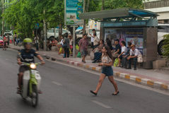Public transport bangkok thailand. BANGKOK - June 15: crowds of people waiting for buses and taxis outside market on June19, 2014 in Bangkok, Thailand Royalty Free Stock Photography