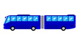 Transportation Articulated Bus Public Transport Big Trailer With Blue Color Royalty Free Stock Photo