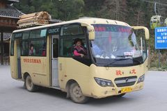 Public transport by oldtimer bus near Dazhai, Longsheng and Guilin, China  Royalty Free Stock Images