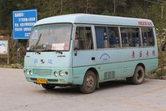 Public transport by retro bus near Longsheng and Guilin, China Stock Photos