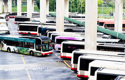 Public transport bus terminal. In Singapore city Royalty Free Stock Photo