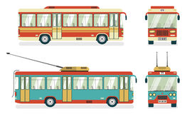Public Transport  Bus Trolleybus 4 Icons. City public transport services transit bus and trolleybus views 4 flat icons square abstract  vector illustration Stock Photography