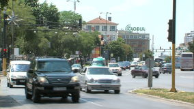 Public transport in the central streets of Varna, Bulgaria stock footage