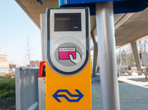 Public transport chipcard reader at a railway station in the Net Royalty Free Stock Images
