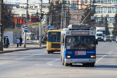 Public transport in the city of Cheboksary, Chuvash Republic. Russia. 03/20/2016 Royalty Free Stock Photography