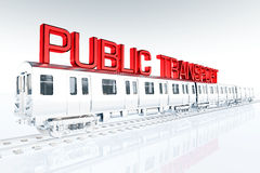 Public Transport Concept in white environment 3D Royalty Free Stock Photography