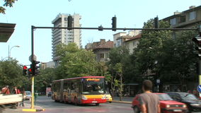 Public transport at the crossroads in the center of Varna, Bulgaria stock video footage