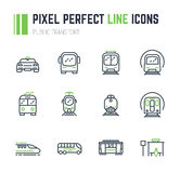Public transport 12 icon set. Set of 12 public transport thin line style icons. Taxi and bus. Electrical transport, tram, subway, train. Public bus stop sign Stock Images