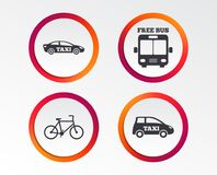 Public transport icons. Free bus, bicycle signs. Public transport icons. Free bus, bicycle and taxi signs. Car transport symbol. Infographic design buttons Royalty Free Stock Photography