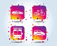 Public transport icons. Free bus, bicycle signs. Public transport icons. Free bus, bicycle and taxi signs. Car transport symbol. Colour gradient square buttons stock illustration