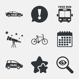 Public transport icons. Free bus, bicycle signs. Public transport icons. Free bus, bicycle and taxi signs. Car transport symbol. Attention, investigate and Royalty Free Stock Images