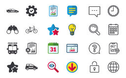 Public transport icons. Free bus, bicycle signs. Public transport icons. Free bus, bicycle and taxi signs. Car transport symbol. Chat, Report and Calendar signs Stock Photography