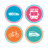 Public transport icons. Free bus, bicycle signs. Public transport icons. Free bus, bicycle and taxi signs. Car transport symbol. Colored circle buttons. Vector Royalty Free Stock Photography