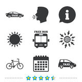 Public transport icons. Free bus, bicycle signs. Public transport icons. Free bus, bicycle and taxi signs. Car transport symbol. Information, go to web and Stock Images
