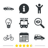 Public transport icons. Free bus, bicycle signs. Public transport icons. Free bus, bicycle and taxi signs. Car transport symbol. Information, light bulb and Stock Images