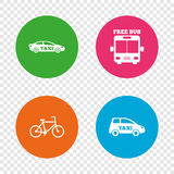 Public transport icons. Free bus, bicycle signs. Public transport icons. Free bus, bicycle and taxi signs. Car transport symbol. Round buttons on transparent Royalty Free Stock Photography