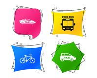 Public transport icons. Free bus, bicycle signs. Vector. Public transport icons. Free bus, bicycle and taxi signs. Car transport symbol. Geometric colorful tags royalty free illustration