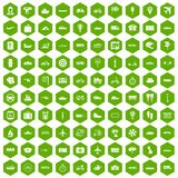 100 public transport icons hexagon green. 100 public transport icons set in green hexagon isolated vector illustration stock illustration