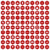 100 public transport icons hexagon red. 100 public transport icons set in red hexagon isolated vector illustration Stock Photo