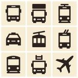 Public transport icons isolated on white background Stock Images