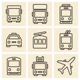 Public transport icons isolated on white background Royalty Free Stock Photo
