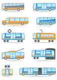 Public transport icons set Royalty Free Stock Image