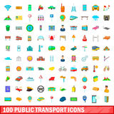 100 public transport icons set, cartoon style Stock Photography