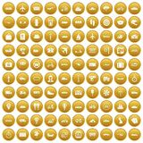 100 public transport icons set gold. 100 public transport icons set in gold circle isolated on white vectr illustration Royalty Free Stock Images