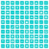 100 public transport icons set grunge blue Stock Photo