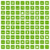100 public transport icons set grunge green. 100 public transport icons set in grunge style green color isolated on white background vector illustration Stock Image
